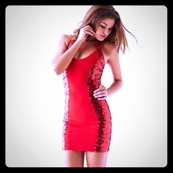 d5da5bb76db Red Sequin Halter Bodycon Dress